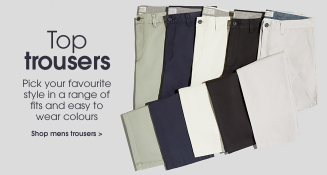 Top trousers. Shop mens trousers.