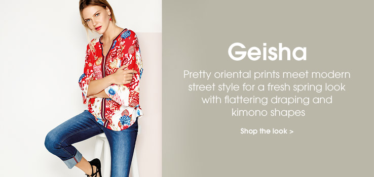 Geisha. Pretty oriental prints meet modern street style for a fresh spring look with flattering draping and kimono shapes. Shop the look.