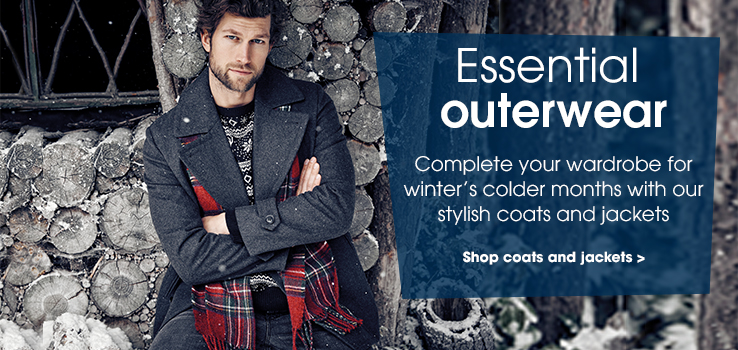 Essential outerwear. Complete your wardrobe for winter's colder months with our stylish coats and jackets. Shop coats and jackets.
