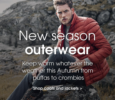 New seaosn outerwear. Keep warm whatever the weather this autumn form puffas to crombies. Shop coats and jackets.