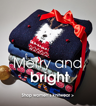 Merry and bright. Shop women's knitwear.