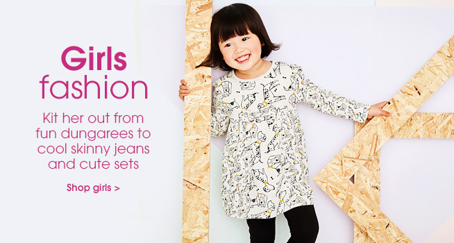 Girls fashion. Kit her out from fun dungarees to cool skinny jeans and cute sets. Shop girls.