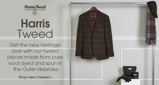 Harris Tweed. Get the new heritage look with our tweed pieces made from pure wool dyed and spun in the Outer Hebridfes. Shop the collection.