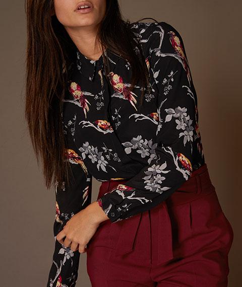 Tu Clothing Womens Premium Multicoloured Bird Print Silk Shirt