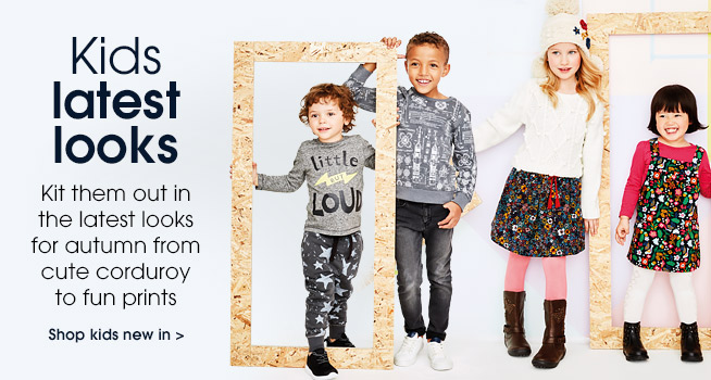 Kids latest looks kit them out in the latest looks for autumn from cute corduroy to fun prints shop kids new in