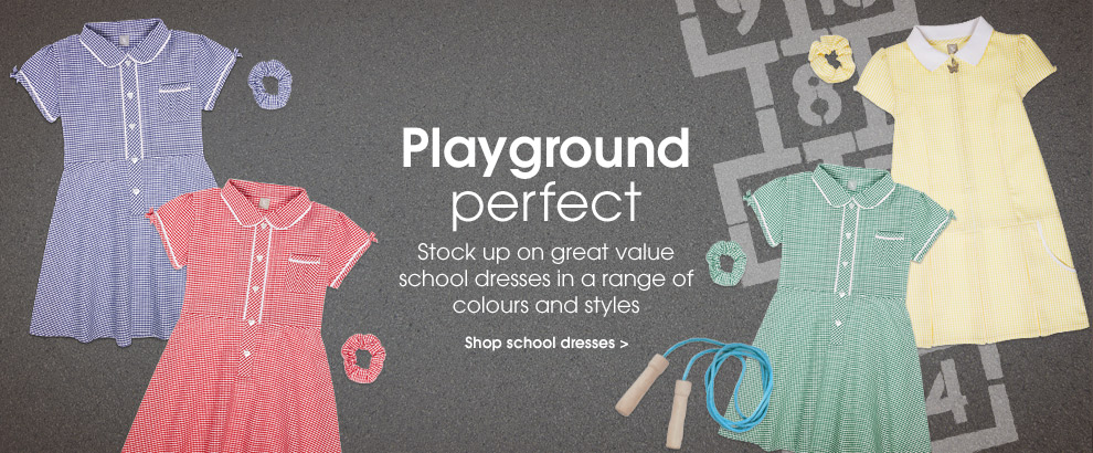 Playground perfect. Stock up on great value school dresses in a range of colours and styles. Shop school dresses.