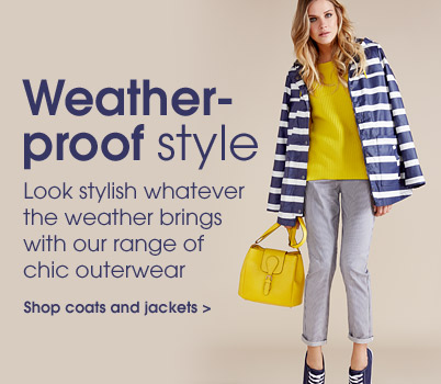 Weath-proof style. Shop coats and jackets.