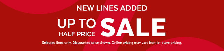 Up to half price sale. Shop now