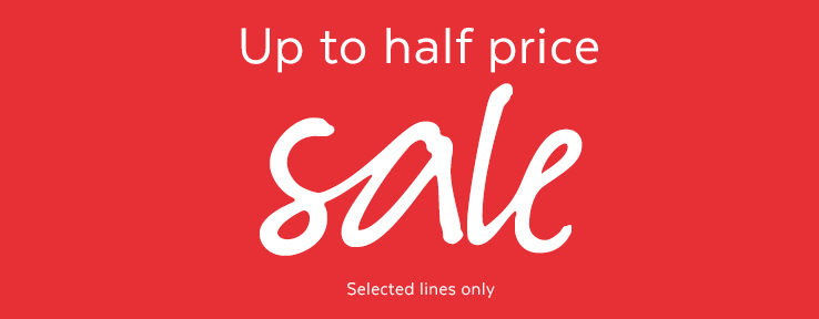 up to half price sale. shop now.