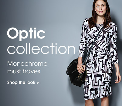 Read between the lines. Clean monchrome patterns and sleek colour blocking make this luxe look easy to wear in the office or on the street. Shop the look.