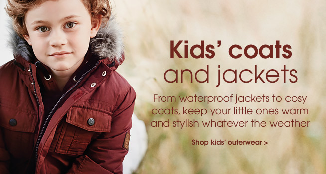 Kid's coats and jackets. From waterproof jackets to cosy coats, keep your little ones warm and stylish whatever the weather. Shop kid's outerwear.