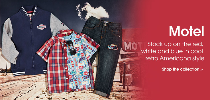 Motel. Stock up on the red, white and blue in cool retro Americana. Shop the collection.