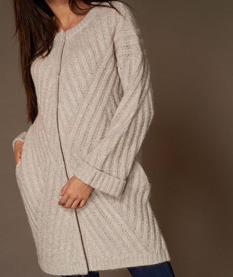 Tu Clothing Womens Premium Oatmeal Deflective Rib Coatigan