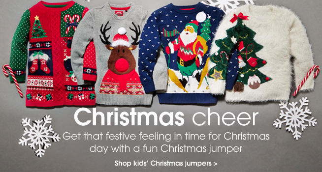 Christmas cheer. Get the festive feeling in time for Christmas day with a fun Christmas jumper. Shop kids' christmas jumpers.