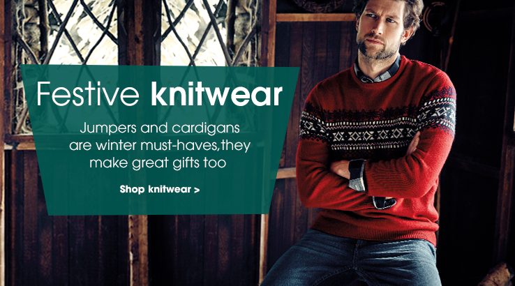 Festive knitwear. Jumpers and cardigans are winter must-haves, they make great gifts too. Shop knitwear.