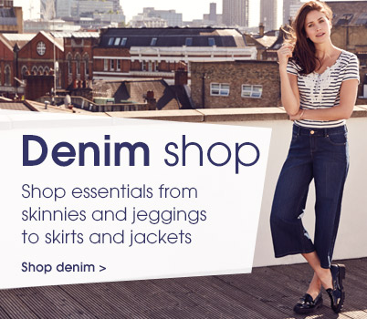 Denim shop. Shop essentials from skinnies and jeggings to skirts and jackets. shop denim.