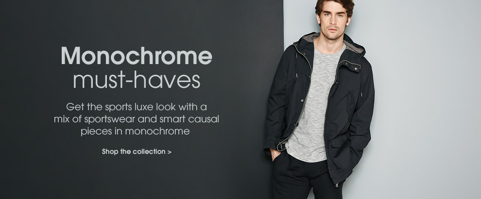 Monochrome must-haves. Get the sports luxe look with a mix of sportswear and smart casual pieces in monochrome