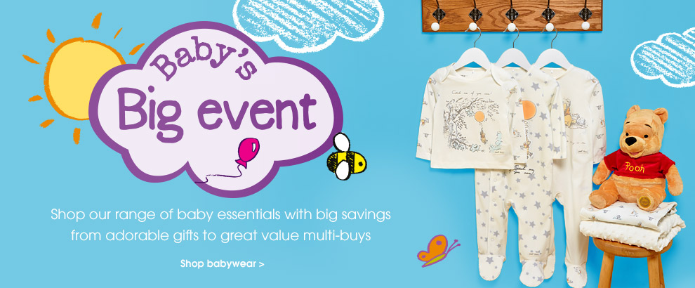 Baby's big event. Shop our range of baby essentials with big savings from adorable gifts to freat value multi-boys. shop babywear.