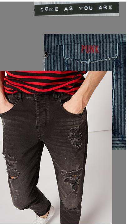 Tu Mens Ripped Black Skinny Denim Jeans