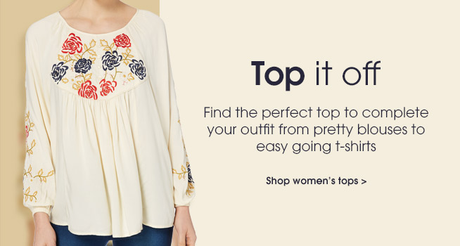 Top it off. find the perfect top to complete your outfit from pretty blouses to easy going t-shirts. Shop women''s tops