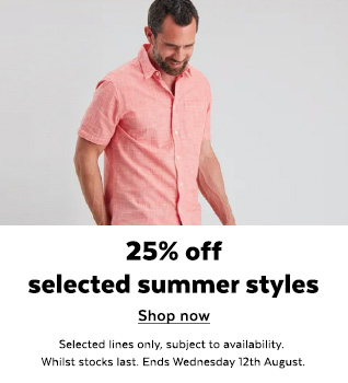 Mens 25% Off Selected styles. Shop Now.