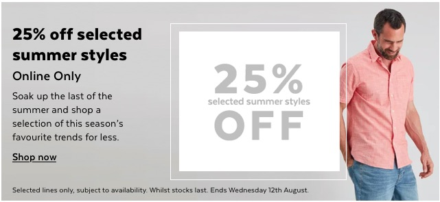 25% off selected summer styles