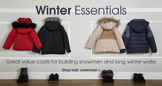 Winter essentials. Great value coats for building snowmen and long winter walks. Shop kids' outerwear.