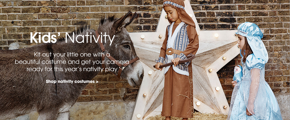 Kids' nativity. Kit out your little one with a beautiful costume and get your camera ready for this year's nativity play. Shop nativity costumes.