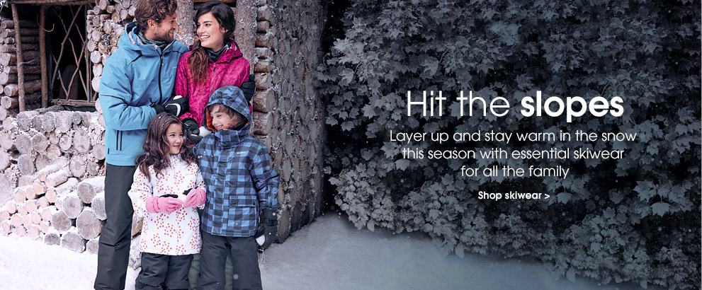 Hit the slopes. Layer up and stay warm in the snow this season with essential skiwear for all the family. Shop skiwear.