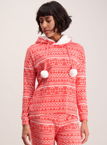 Red Fairisle Hooded Top