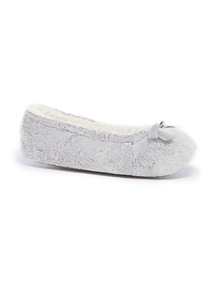 Grey Velour Ballerina Slippers