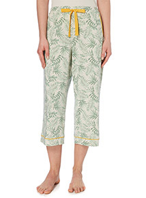 Green Leaf Print Cropped Pyjama Bottoms