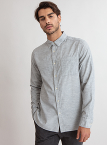 Premium Grey Melange Slim Fit Corduroy Shirt