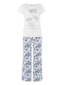 White Embellished Floral PJ set