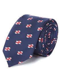 Online Exclusive Navy England Flag Tie
