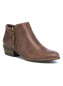 Brown Low Cut Side Zip Ankle Boots