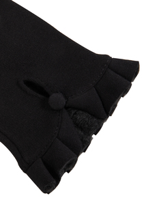 Black Ruffle Delicate Gloves