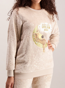 Boofle Beige & Gold Fleece Pyjamas