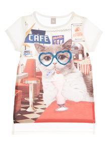Girls Cream Diner Cat Top (3 - 12 years)