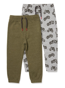 2 Pack Grey and Green Motorbike Joggers (3-14 years)
