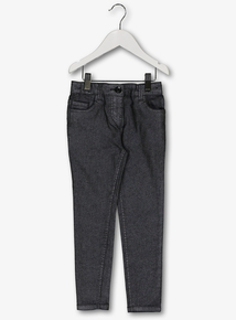 Shiny Silver/Grey Stretch Skinny Jeans (3 - 14yrs)