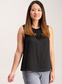 Online Only Petite Black Tie Front Sleeveless Top