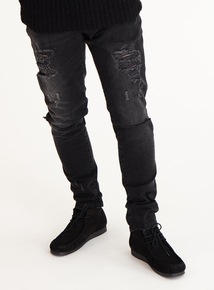 GFW Washed Black Distressed Skinny Jeans