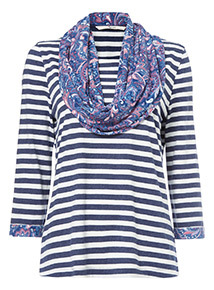 Multicoloured Striped Top and Scarf
