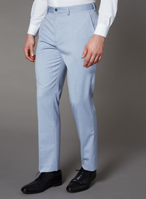 Chambray Tailored Fit Trousers With Stretch