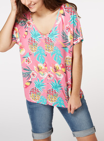 Pineapple and Parrot Print T-Shirt
