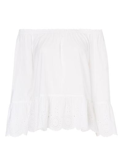 White Off Shoulder Schiffli Top