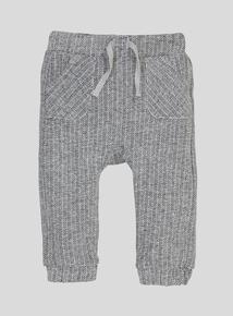 Grey Herringbone Jersey Joggers (0-24 months)