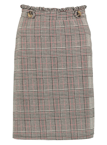 Online Exclusive Grey Check Button Detail Skirt