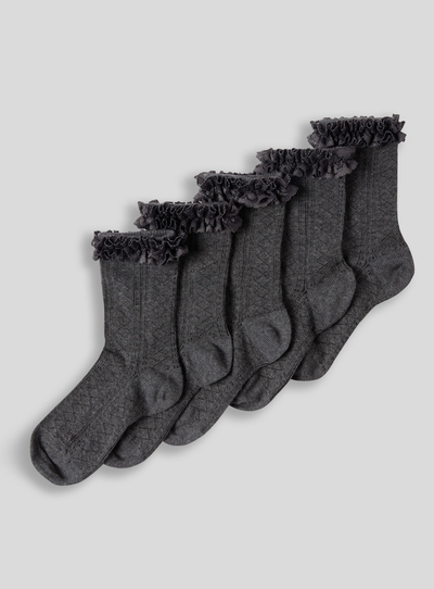 Grey Lace Socks 5 Pack